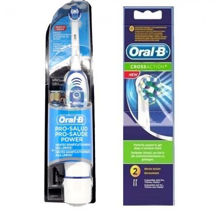 Set Cepillo Dental Electrico + Dos Repuestos Cross Action